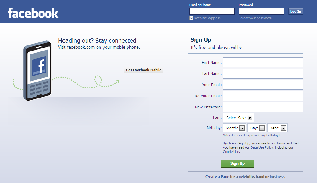 Facebook Profile sign up
