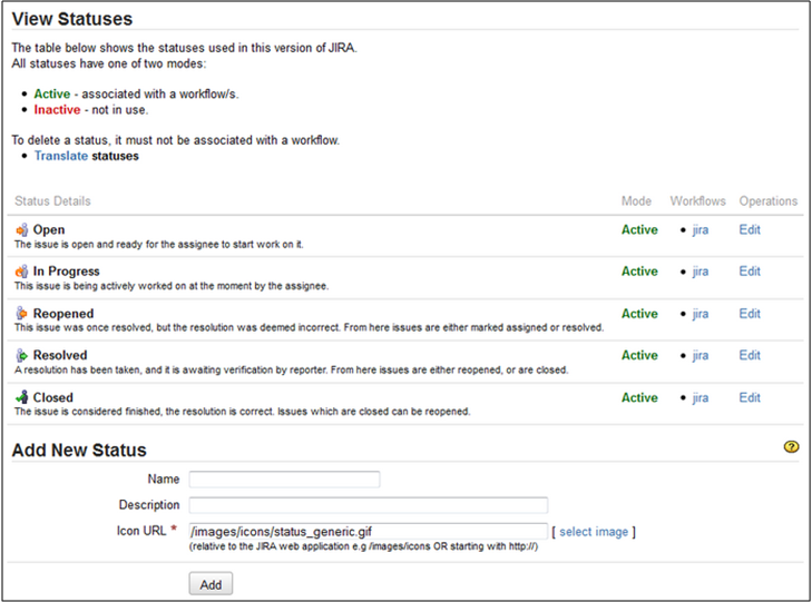 JIRA Workflows - view statuses