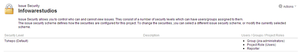 JIRA permissions and security -associate security