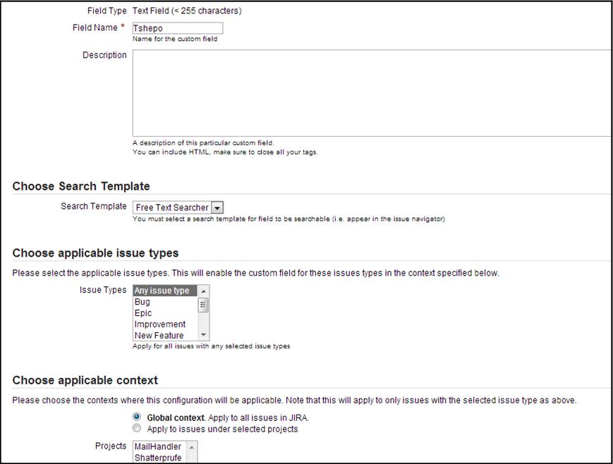 Create Custom field in JIRA 2