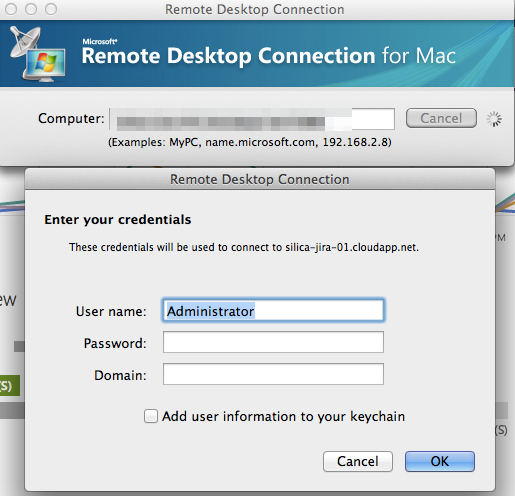 remote desktop connection prompt