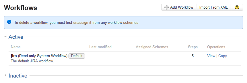 JIRA Workflows - existing workflows